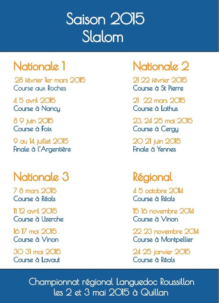 calendrier slalom 2015
